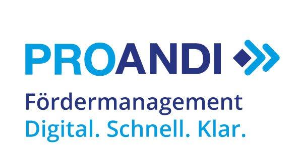PROANDI Logo mit Claim auf weissem Grund.
